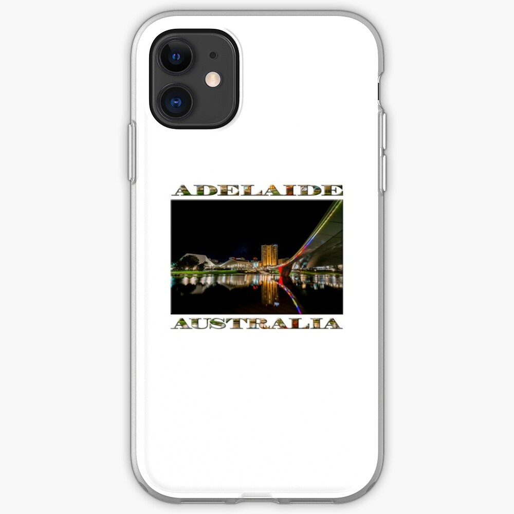 Adelaide Riverbank at Night (poster on white) iPhone Case & Cover