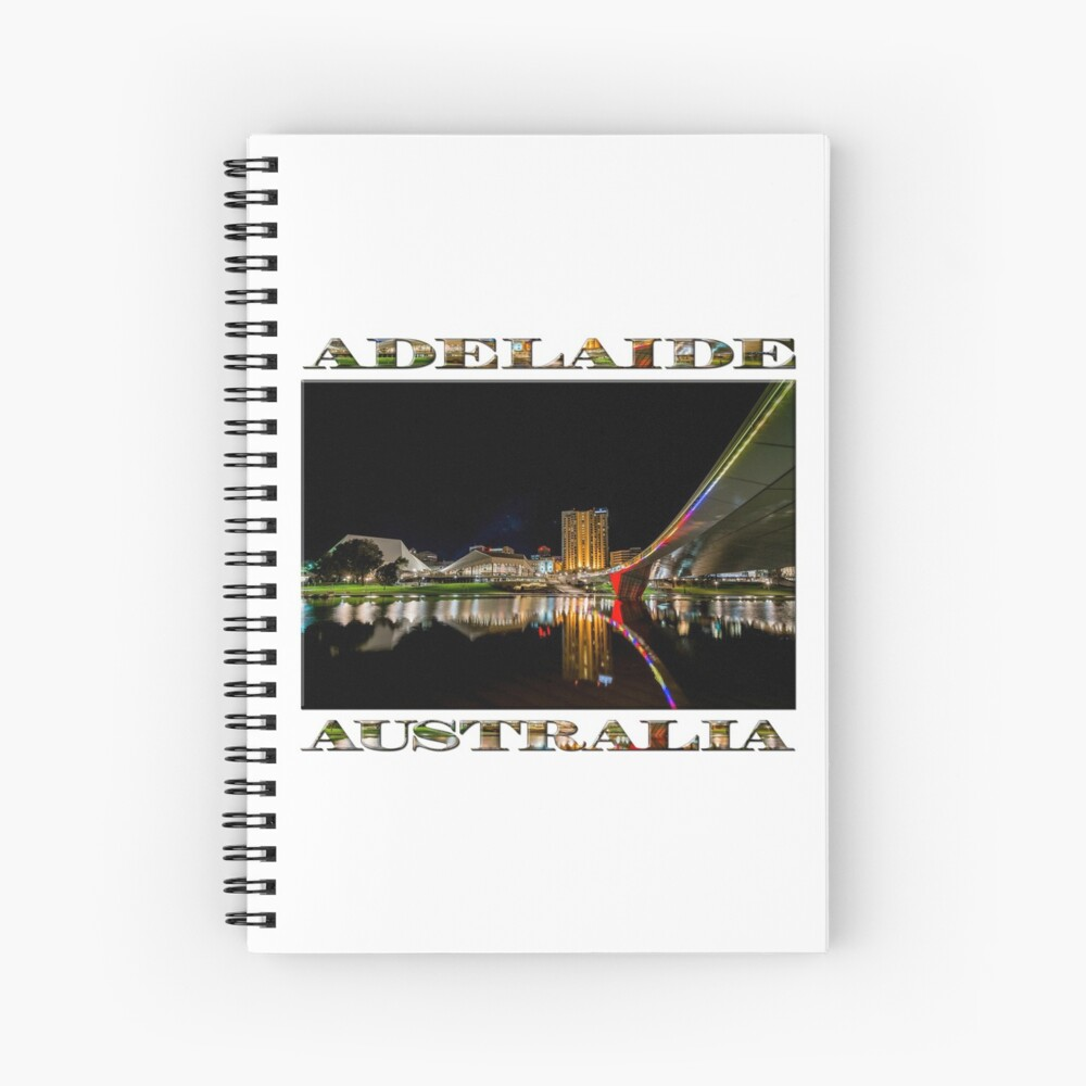 Adelaide Riverbank at Night (poster on white) Spiral Notebook