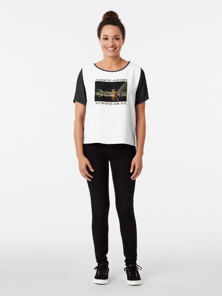 Alternate view of Adelaide Riverbank at Night (poster on white) Chiffon Top