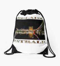Adelaide Riverbank at Night (poster on white) Drawstring Bag