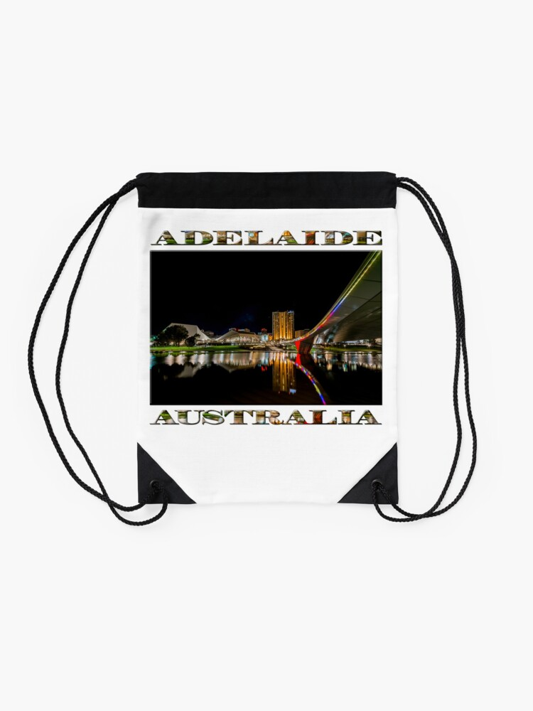Alternate view of Adelaide Riverbank at Night (poster on white) Drawstring Bag