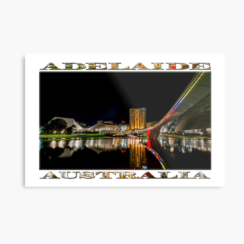 Adelaide Riverbank at Night (poster on white) Metal Print