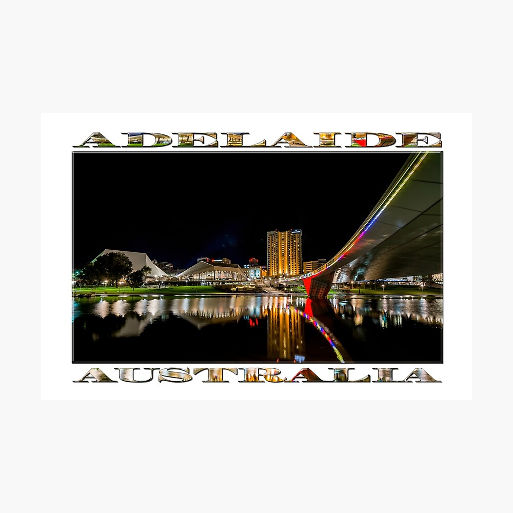 Adelaide Riverbank at Night (poster on white) Photographic Print