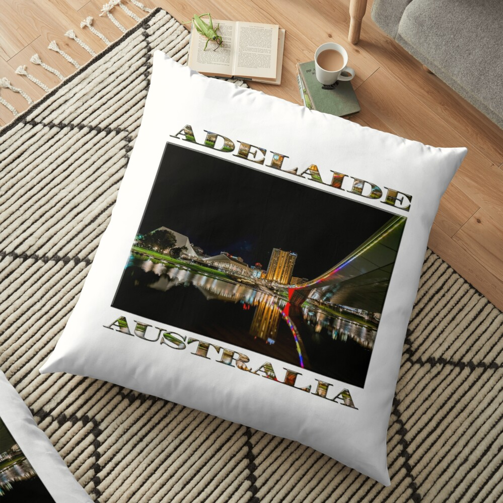 Adelaide Riverbank at Night (poster on white) Floor Pillow