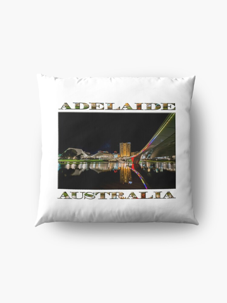 Alternate view of Adelaide Riverbank at Night (poster on white) Floor Pillow