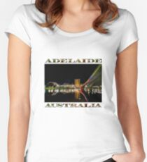 Adelaide Riverbank at Night (poster on white) Women's Fitted Scoop T-Shirt