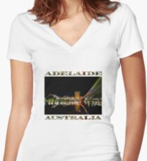 Adelaide Riverbank at Night (poster on white) Women's Fitted V-Neck T-Shirt