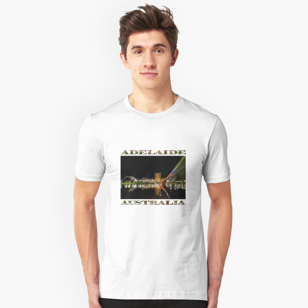 Adelaide Riverbank at Night (poster on white) Slim Fit T-Shirt