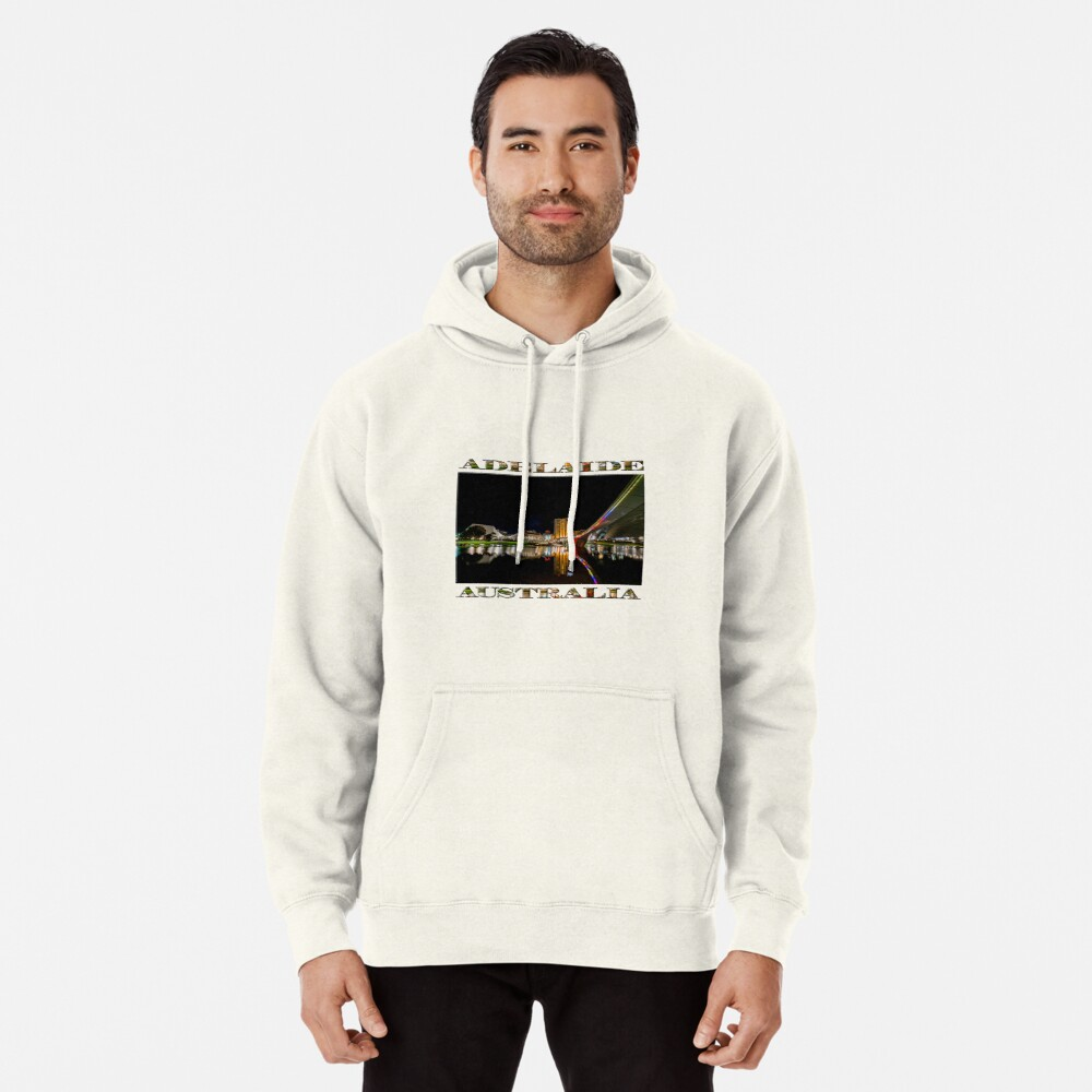 Adelaide Riverbank at Night (poster on white) Pullover Hoodie