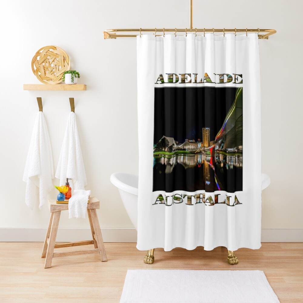 Adelaide Riverbank at Night (poster on white) Shower Curtain