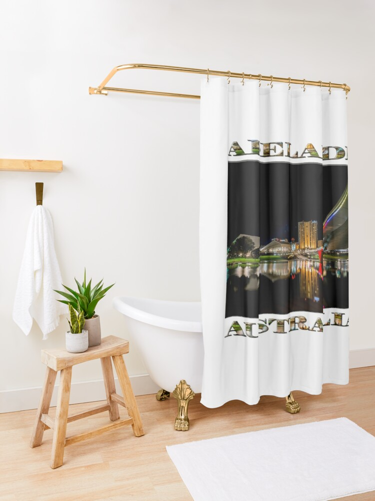 Alternate view of Adelaide Riverbank at Night (poster on white) Shower Curtain