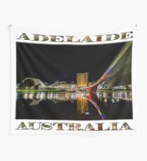 Adelaide Riverbank at Night (poster on white) Wall Tapestry