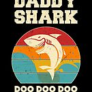 Daddy Shark Doo Doo Doo Vintage Fathers Day Dad by JapaneseInkArt