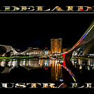 Adelaide Riverbank at Night (poster on black) by Ray Warren