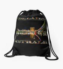 Adelaide Riverbank at Night (poster on black) Drawstring Bag