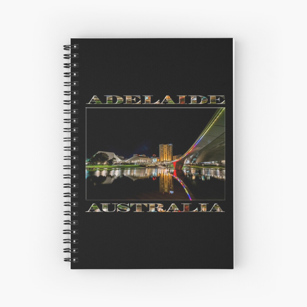 Adelaide Riverbank at Night (poster on black) Spiral Notebook