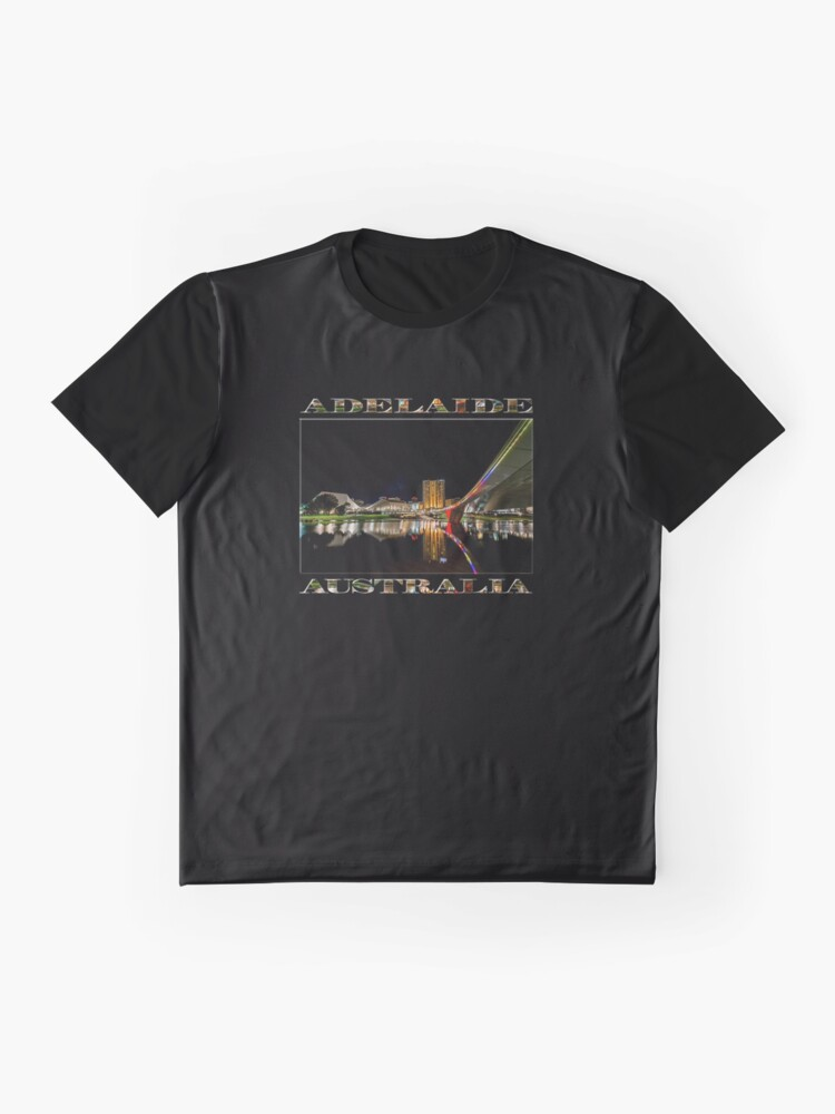 Alternate view of Adelaide Riverbank at Night (poster on black) Graphic T-Shirt