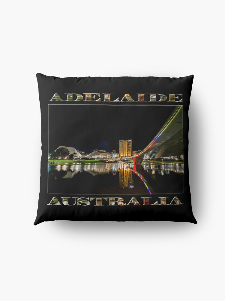 Alternate view of Adelaide Riverbank at Night (poster on black) Floor Pillow