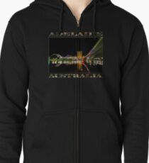Adelaide Riverbank at Night (poster on black) Zipped Hoodie