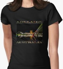 Adelaide Riverbank at Night (poster on black) Women's Fitted T-Shirt