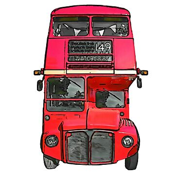 The big red bus. (Painting) by cmphotographs