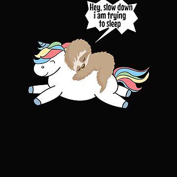Lazy Sloth Riding Unicorn  by VaSkoy