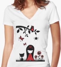 Little Red Ribbon Head Women's Fitted V-Neck T-Shirt
