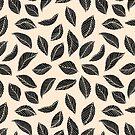 Falling Leaves in Black and Ivory by pemberleyjones