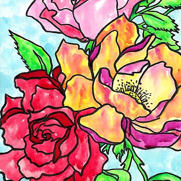 Watercolor and Ink Roses by HiddenStash