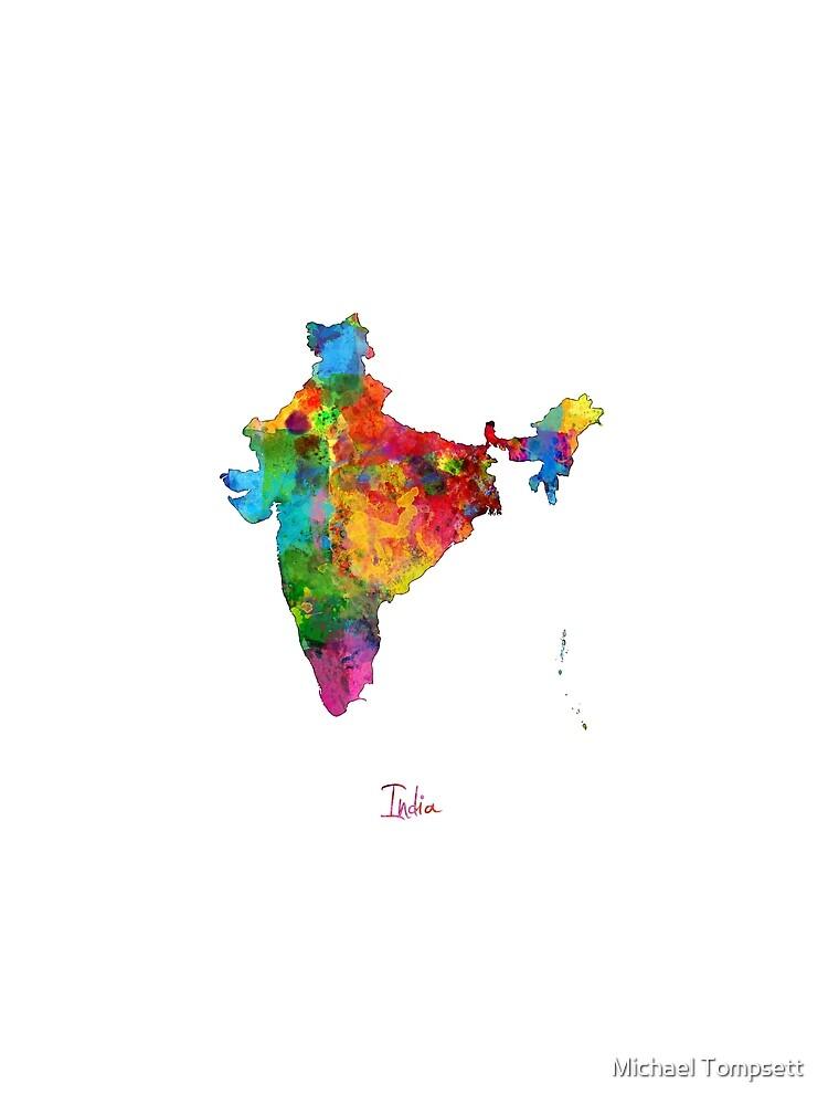 Indien Aquarell Karte von ArtPrints