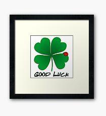 Good Luck - Four Leaf Clover with Ladybug Framed Print