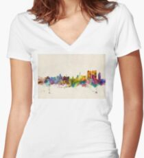Calcutta (Kolkata) India Skyline Women's Fitted V-Neck T-Shirt
