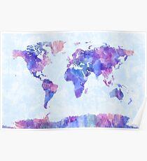 Póster Mapa del mundo Mapa Acuarela Pintura