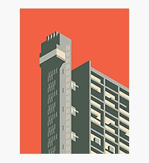 Trellick Tower London Isometric Minimal - Plain Brick Photographic Print