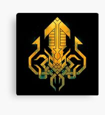 Golden Kraken Sigil Canvas Print
