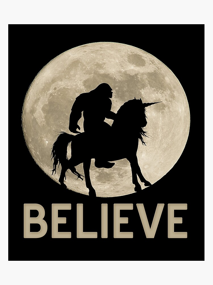 32765d04 Bigfoot Rides Unicorn T-Shirt Funny Sasquatch vintage design as a gift idea  Photographic Print