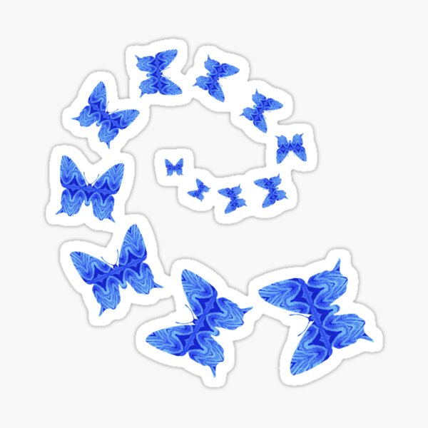 Butterflies Are Free To Fly Monochrome Light Blue Sticker
