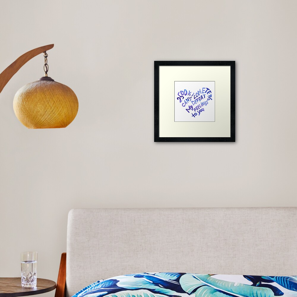 2500 kilometers can't defeat my feelings to you Framed Art Print