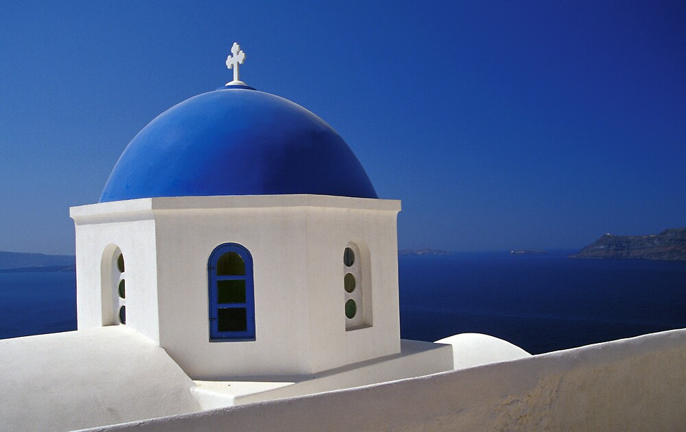 Whitewashed Church with Blue Dome, Santorini by Petr Svarc