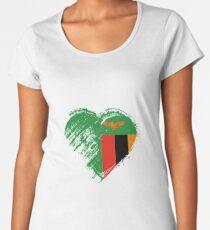Grungy ich liebe Sambia-Herz-Flagge Premium Rundhals-Shirt