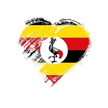 Grungy I Love Uganda Heart Flag  by madra