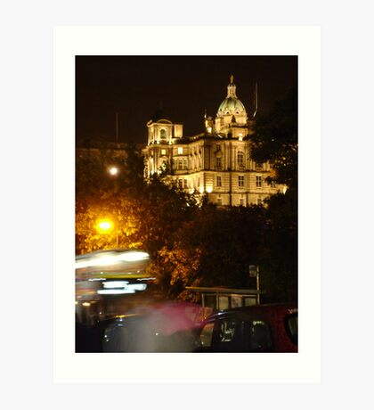 Edinbustle! (busy street, night in Scotland's capital) Art Print