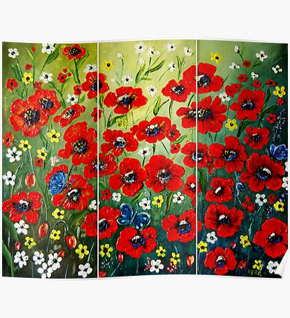 """Poppy Triptych"" - oil painting Poster"