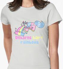 unicorns barf rainbows Womens Fitted T-Shirt