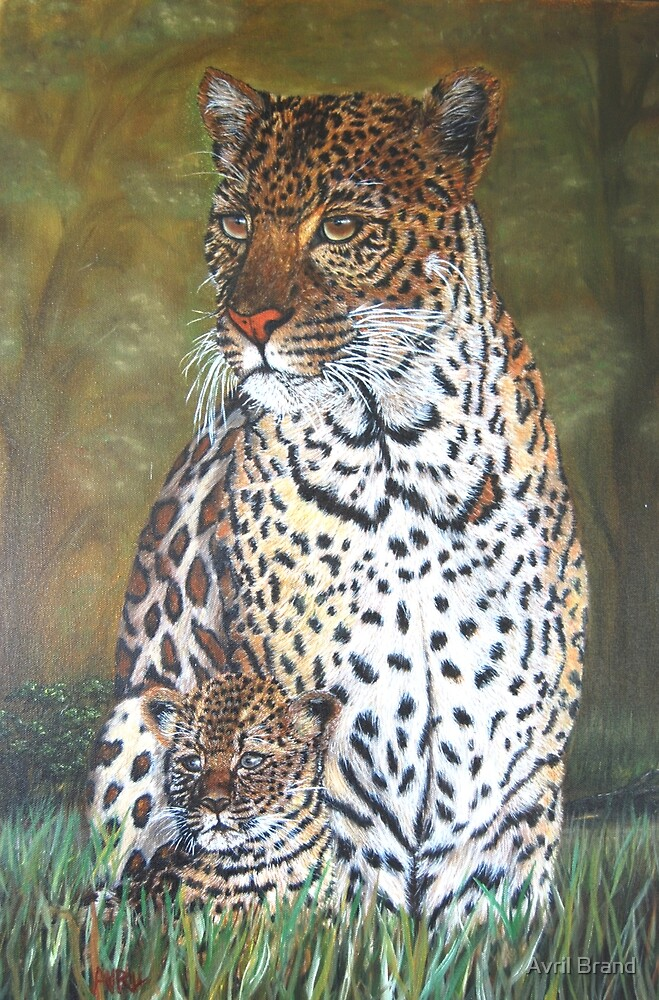 """""""Leopard and Cub"""" - Oil Painting by Avril Brand"""