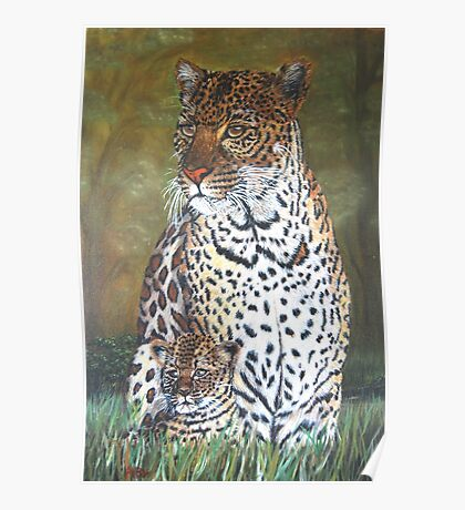 """Leopard and Cub"" - Oil Painting Poster"