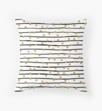 Modern black and gold hand drawn stripes dots pattern Throw Pillow