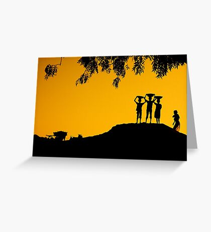 The Golden Hour in a Village Greeting Card