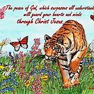 Tiger in a Perfect World - With Philippians 4:7 Bible Verse by EuniceWilkie