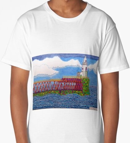 433 - EAST PIER, BLYTH - DAVE EDWARDS - COLOURED PENCILS - 2018 Long T-Shirt